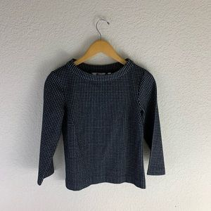 Boden Houndstooth Plaid Long Sleeve Pullover